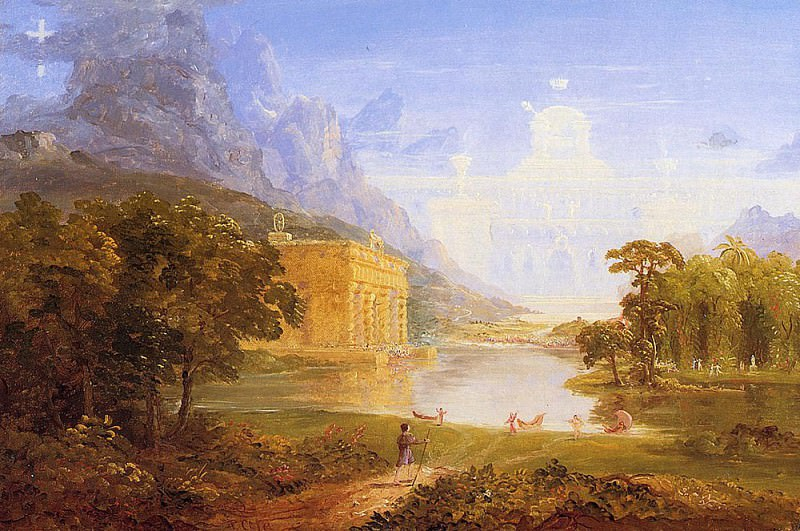 The Cross and the World Study for -The Pilgrim of the World on His Journehy-. Thomas Cole
