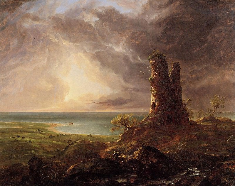 Romantic Landscape with Ruined Tower. Thomas Cole