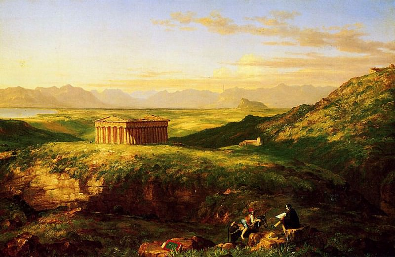 The Temple of Segesta with the Artist Sketching. Thomas Cole