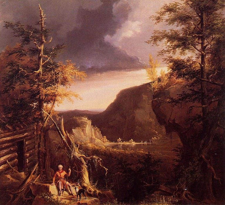 Daniel Boone Sitting at the Door of His Cabin on the Great Osage Lake Kentucky 1826. Thomas Cole