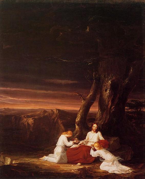 Ангелы, прислуживающие Христу в пустынной местности. Томас Коул