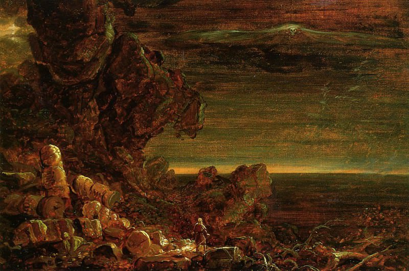 The Cross and the World Study for -The Pilgrim of the World at the End of His Journey. Thomas Cole