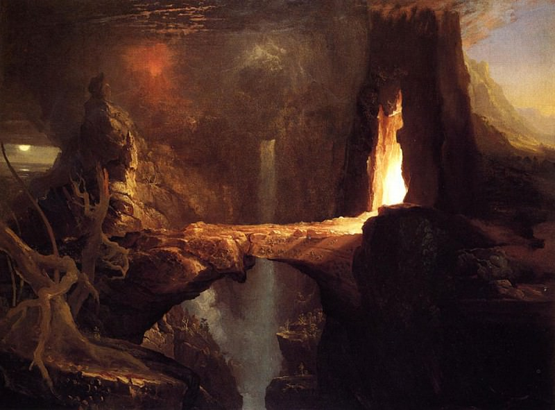Expulsion Moon and Firelight. Thomas Cole