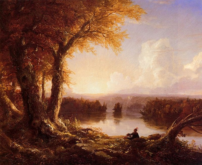 Indian at Sunset. Thomas Cole
