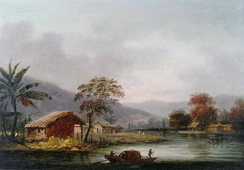 Figures Guiding a Sampan Round a Bend in a River Past a Village. George Chinnery