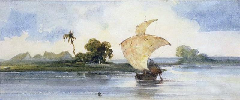 Судно на индийской реке. Джордж Чиннери