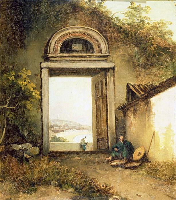 Вид Прайя-Гранде, Макао, из дверного проема на холме Пенья Хилл. Джордж Чиннери