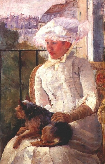 susan on a balcony holding a dog 1883. Mary Cassatt