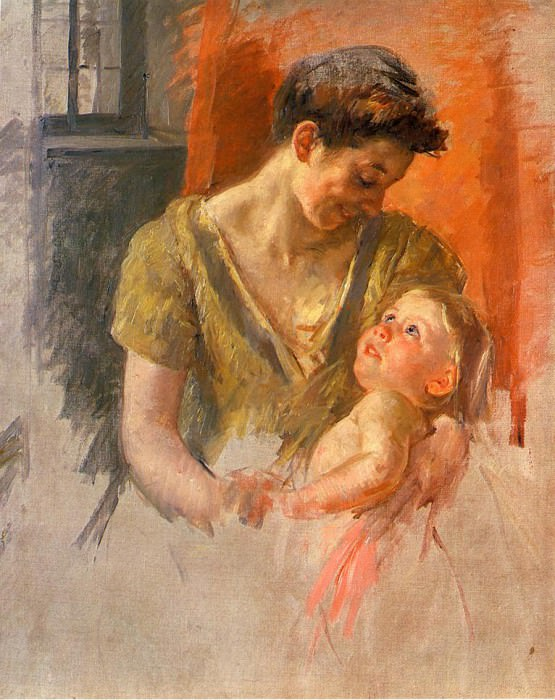 Mother and Child Smiling at Each Other. Mary Cassatt