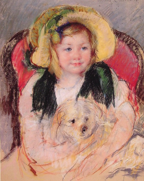 Sara with her dog. Mary Cassatt