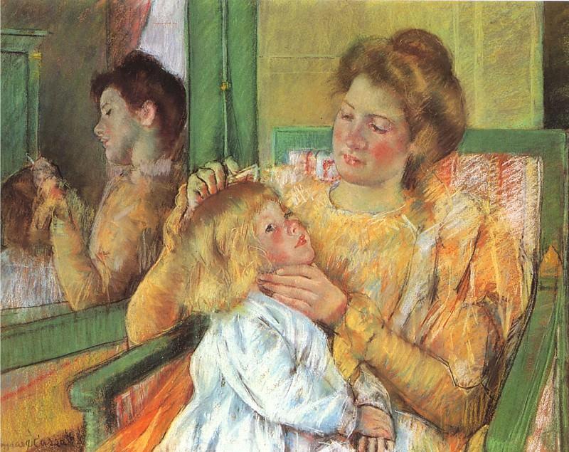 Mother Combing. Mary Cassatt