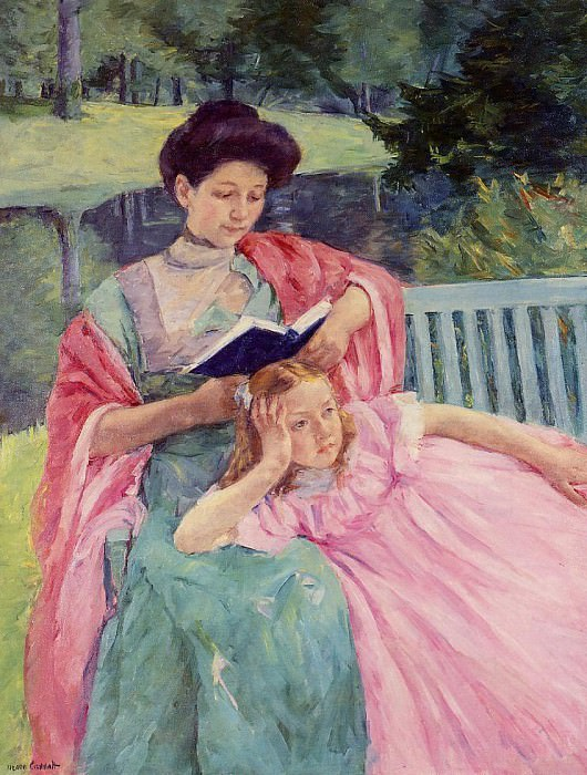 Auguste Reading to Her Daughter. Mary Cassatt