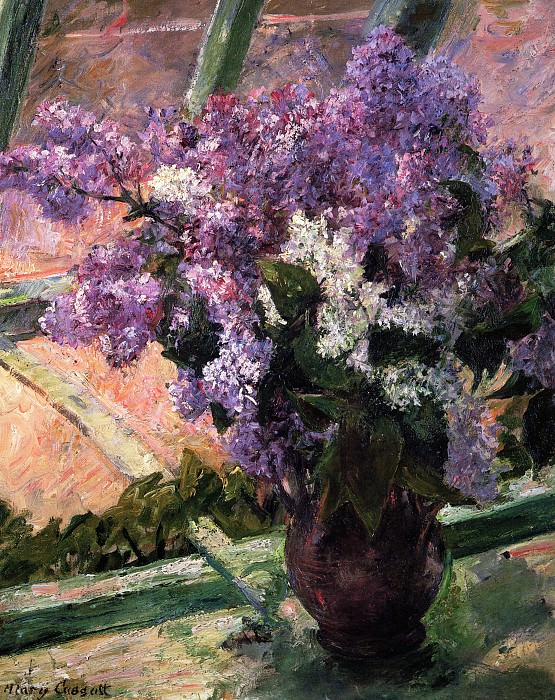 Lilacs in a Window. Mary Cassatt