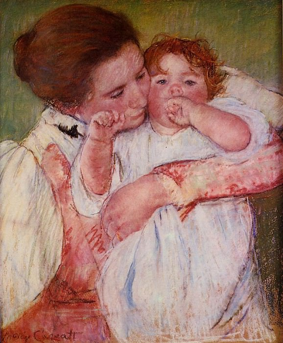 Little Ann Sucking Her Finger Embraced by Her Mother. Mary Cassatt