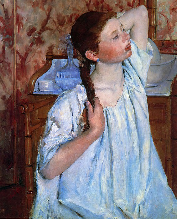 Girl Arranging Her Hair. Mary Cassatt