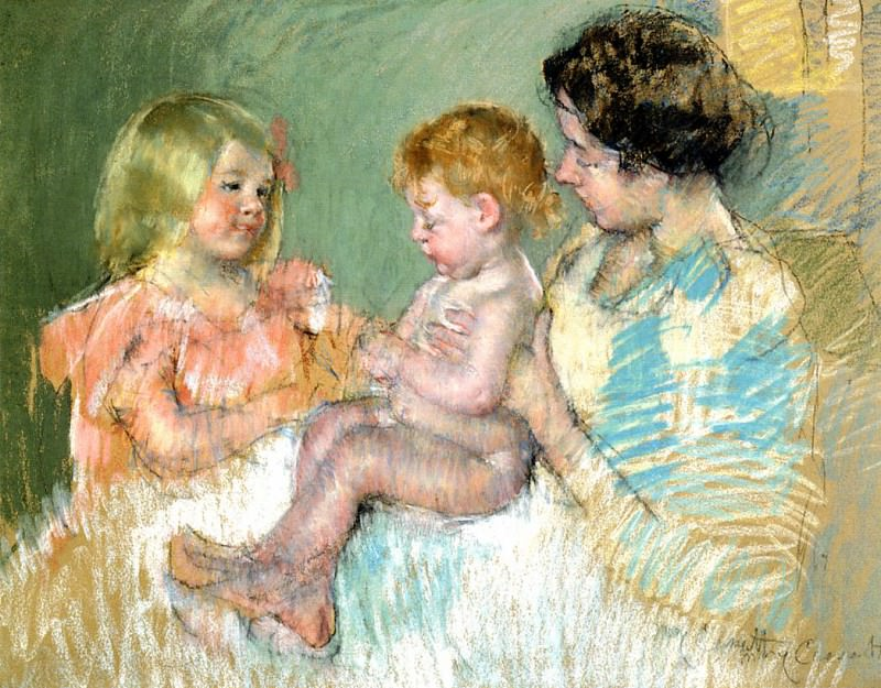 Sara and Her Mother with the Baby. Mary Cassatt
