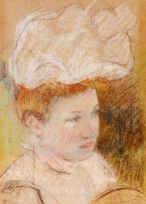 Leontine in a Pink Fluffy Hat. Mary Cassatt