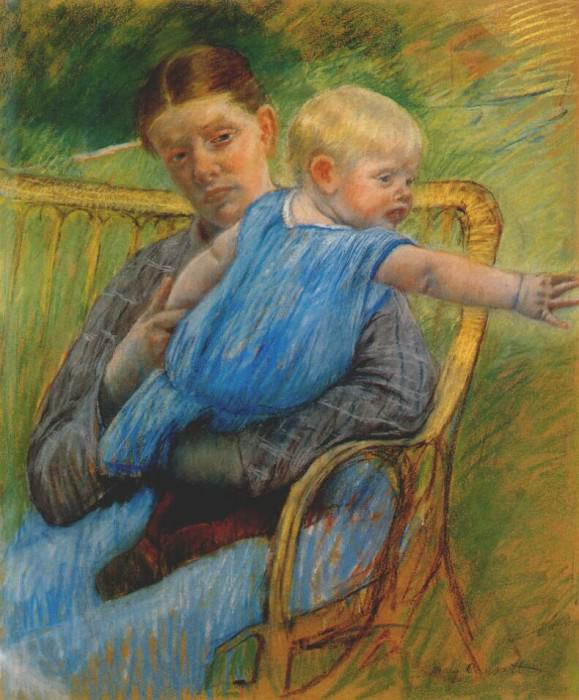 mathilde holding a baby who reaches out to the right c1889. Mary Cassatt