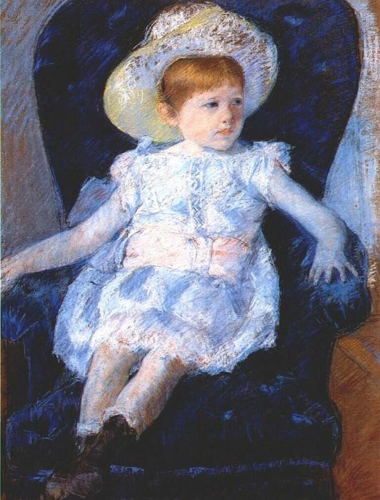 elsie in a blue chair 1880. Mary Cassatt