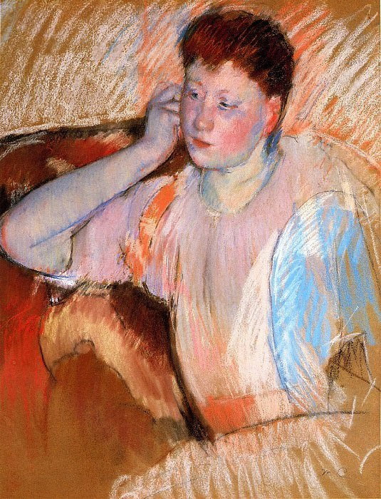 Clarissa Turned Left with Her Hand to Her Ear. Mary Cassatt