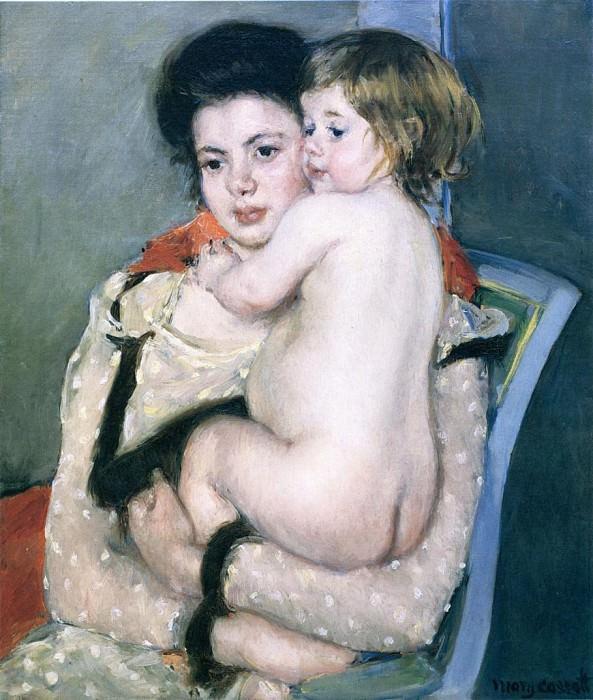 Reine Lefebvre Holding a Nude Baby. Mary Cassatt