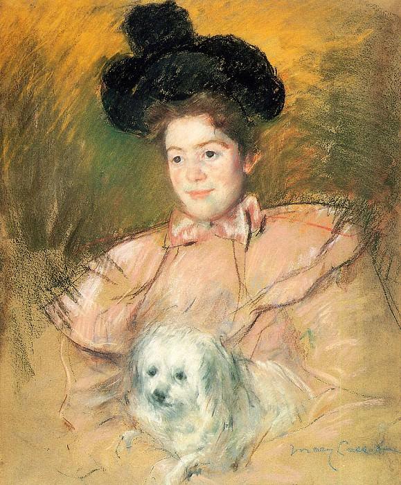 Woman in Raspberry Costume Holding a Dog. Mary Cassatt