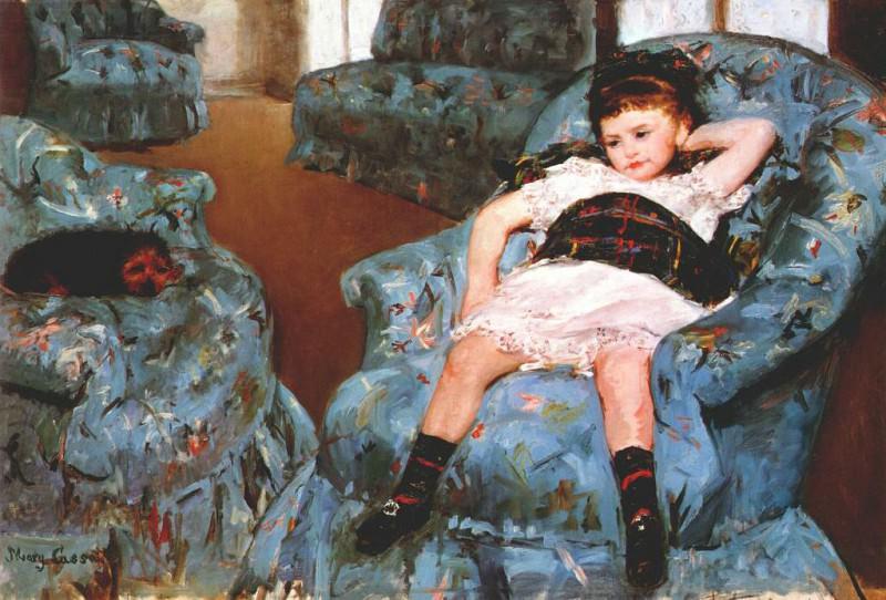 cassatt little girl in a blue armchair 1878. Mary Cassatt
