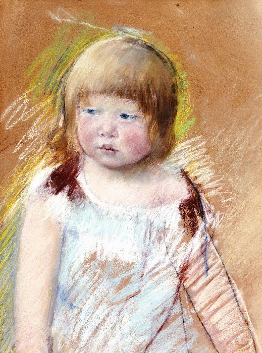Child with Bangs in a Blue Dress. Mary Cassatt