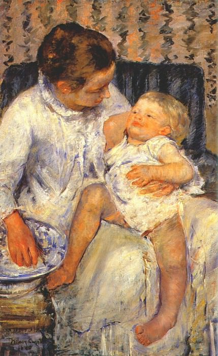 mother about to wash her sleepy child 1880. Mary Cassatt