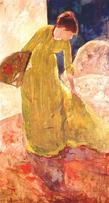 woman standing, holding a fan 1878-9. Mary Cassatt