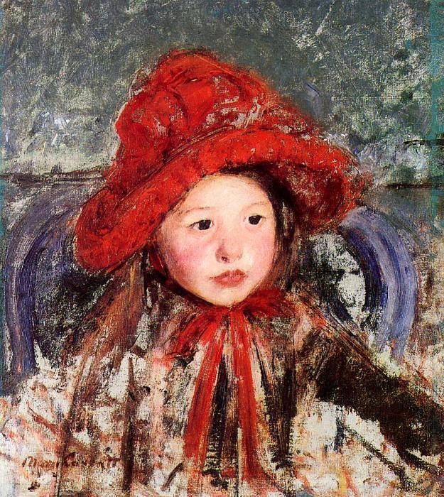Little Girl in a Large Red Hat. Mary Cassatt