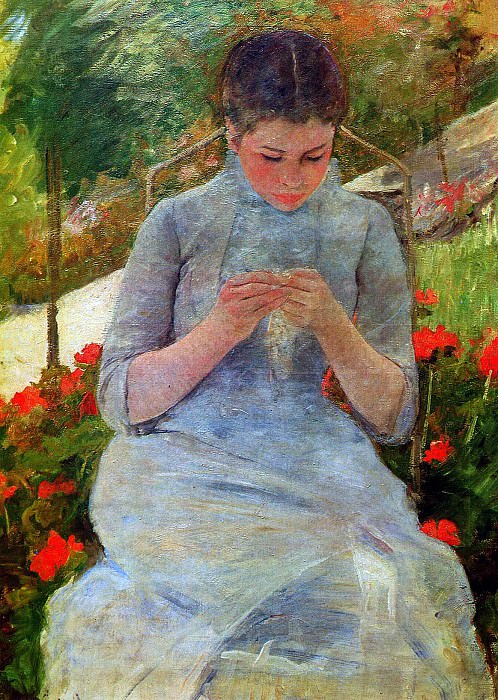 Woman with needlework. Mary Cassatt