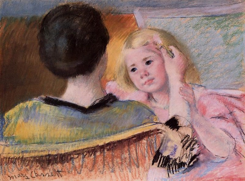 Мать, расчесывающая волосы Сары. Мэри Кассат