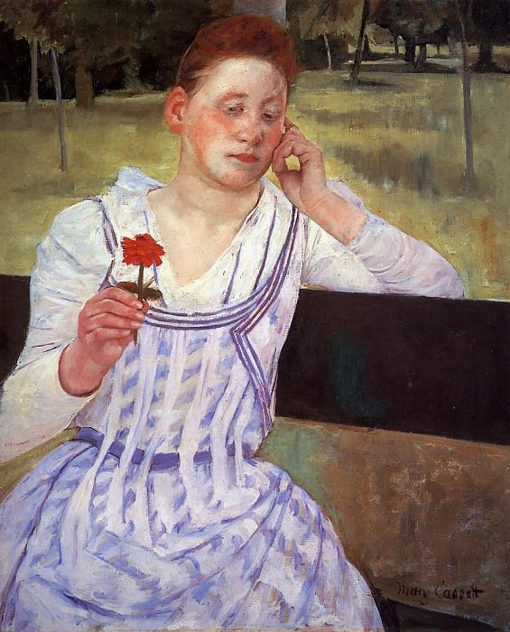 Reverie aka Woman with a Red Zinnia. Mary Cassatt