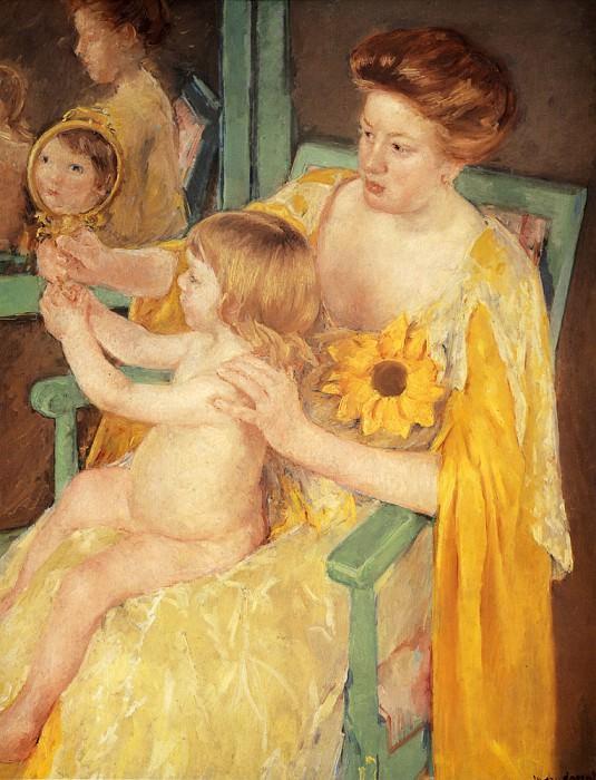 Mother Wearing A Sunflower On Her Dress. Mary Cassatt
