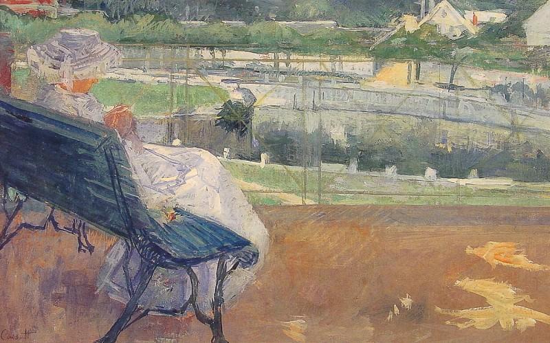 Lydia Seated on A Porch Crocheting. Mary Cassatt