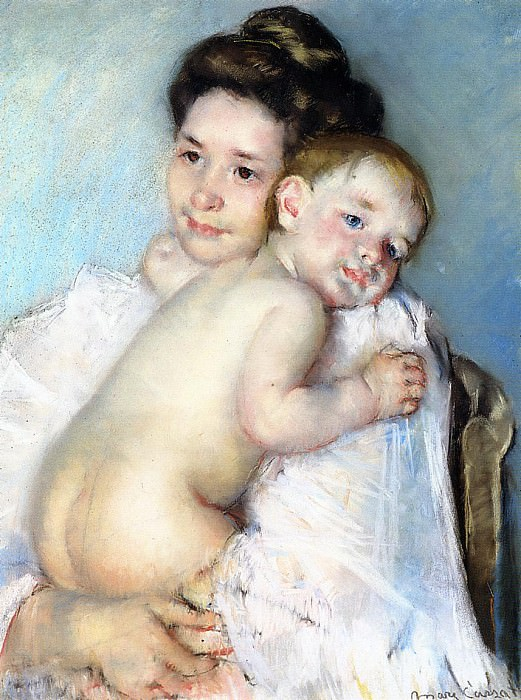 Mother Berthe Holding Her Baby. Mary Cassatt
