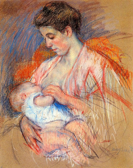 Mother Jeanne Nursing Her Baby. Mary Cassatt