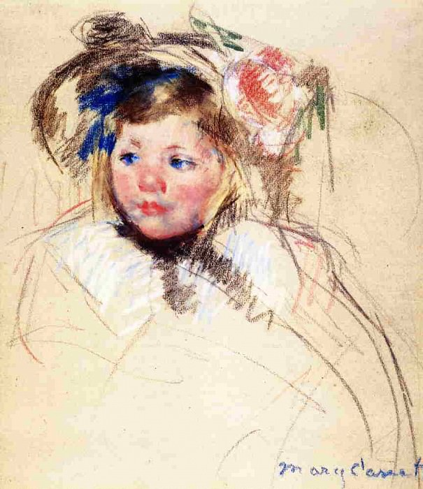 Head of Sara in a Bonnet Looking Left. Mary Cassatt
