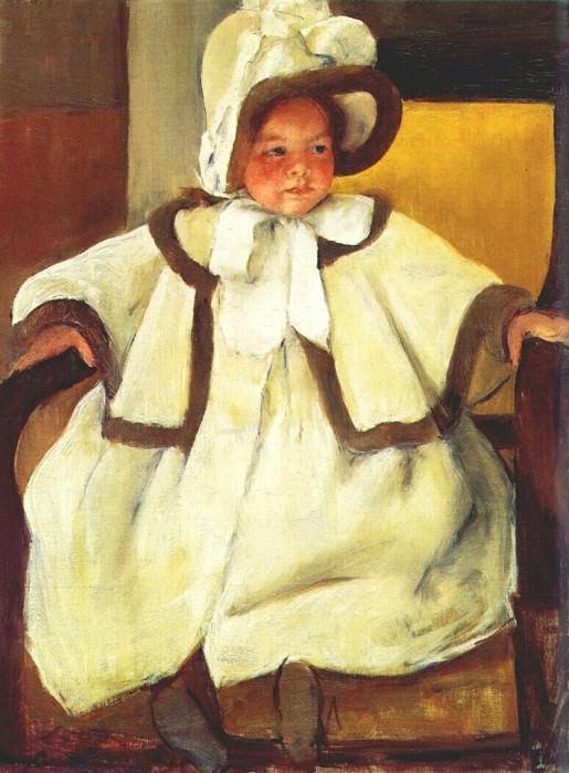 in a white coat c1896. Mary Cassatt