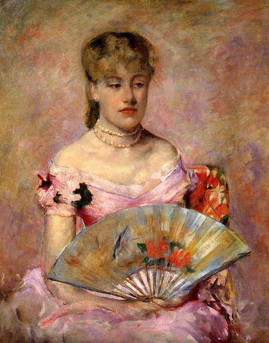 Lady with a Fan aka Portrait of Anne Charlotte Gaillard. Mary Cassatt