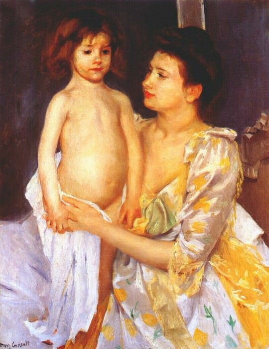 jules being dried by his mother 1900. Mary Cassatt