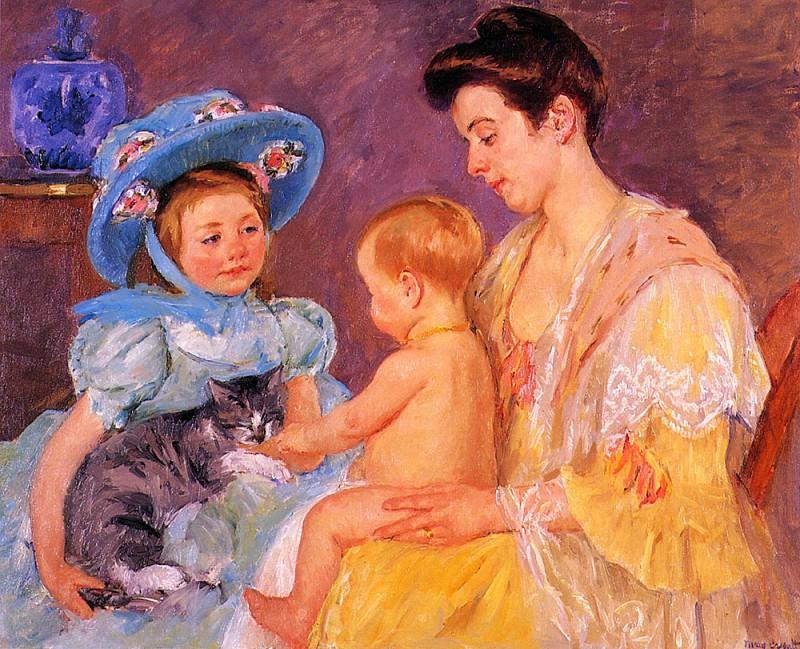 Дети, играющие с кошкой. Мэри Кассат