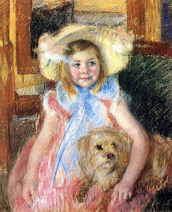 Sara in a Large Flowered Hat Looking Right Holding Her Dog. Mary Cassatt