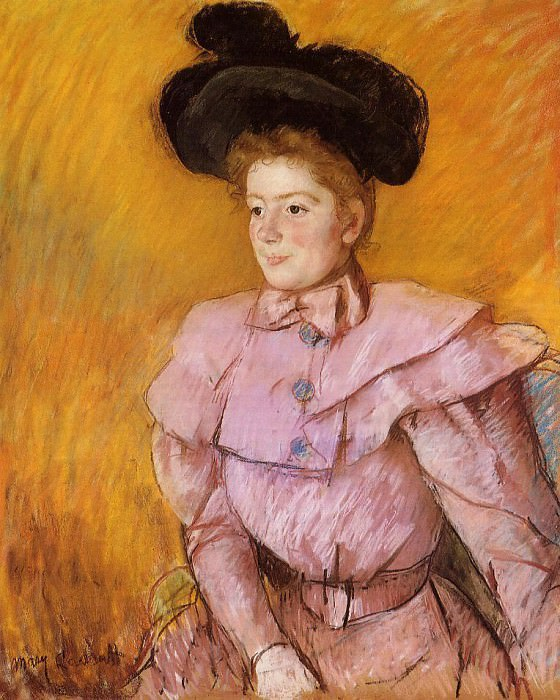 Woman in a Black Hat and a Raspberry Pink Costume. Mary Cassatt