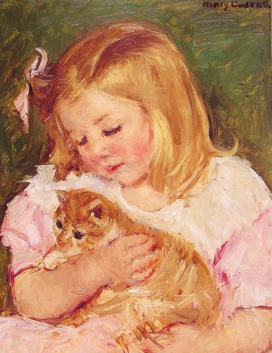 Сара, держащая на руках кошку. Мэри Кассат