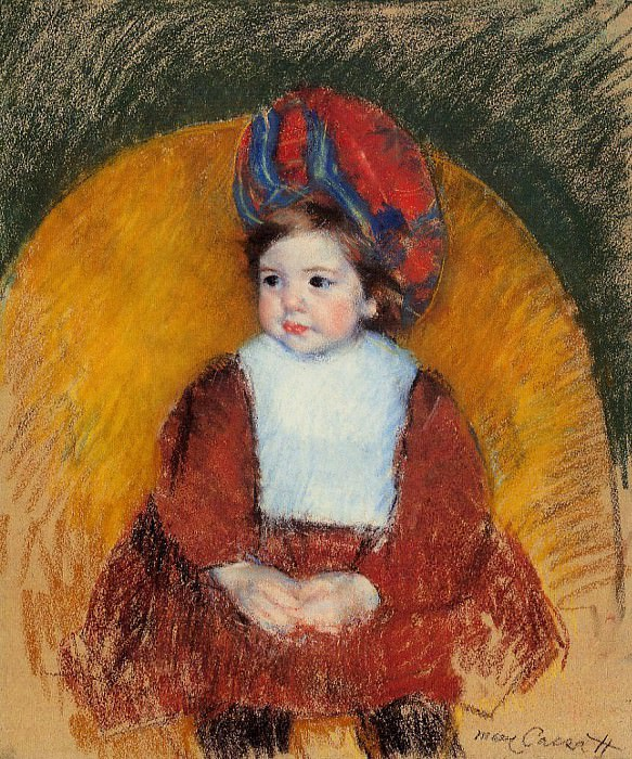 Margot in a Dark Red Costume Seated on a Round Backed Chair. Mary Cassatt
