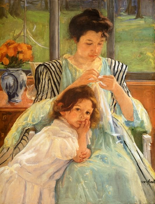 Young Mother Sewing. Mary Cassatt