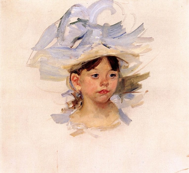 Sketch of -Ellen Mary Cassatt in a Big Blue Hat-. Mary Cassatt