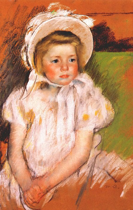 simone in a white bonnet 1901. Mary Cassatt